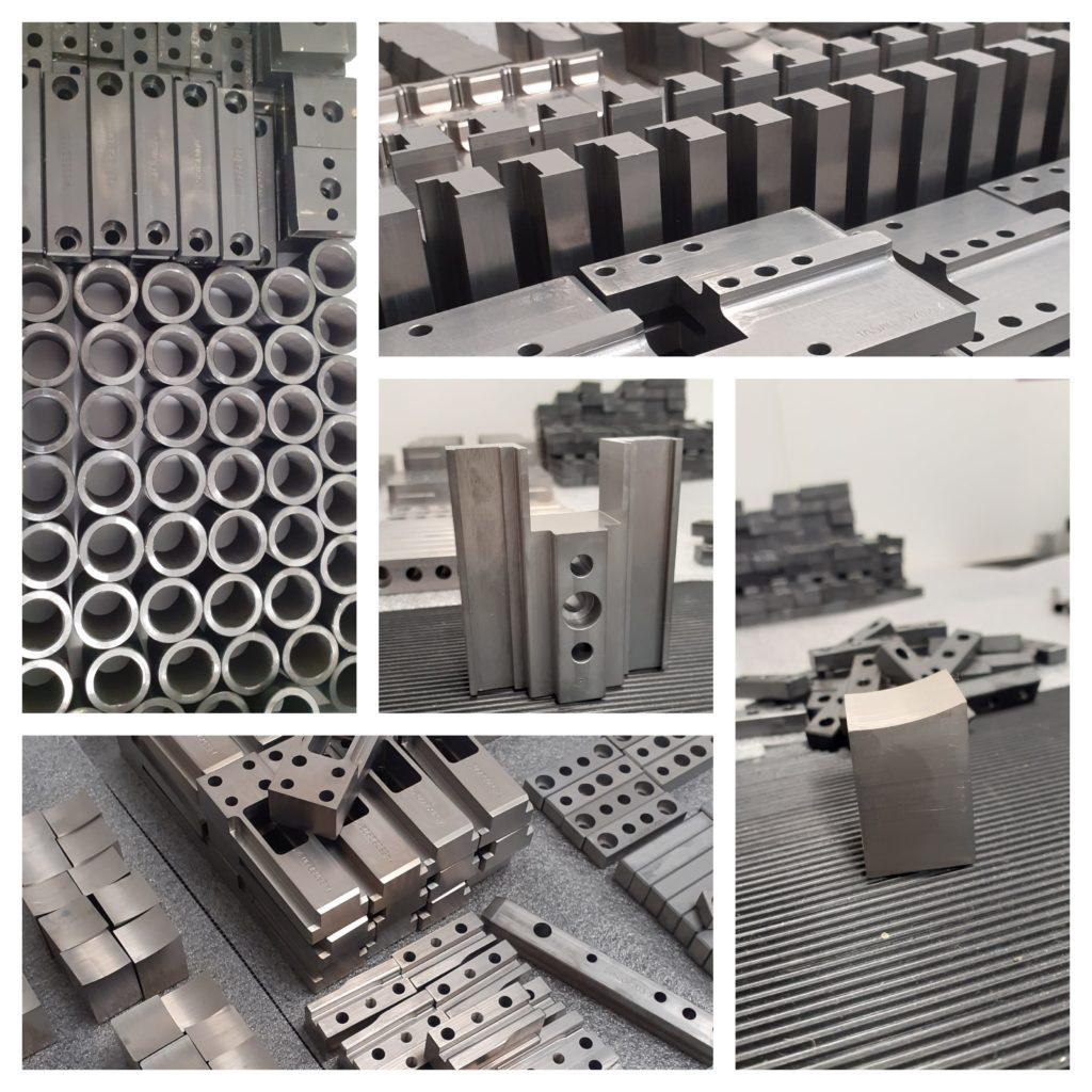 Usinage de plusieurs séries de pièces en acier, avec traitement thermique et brunissage.